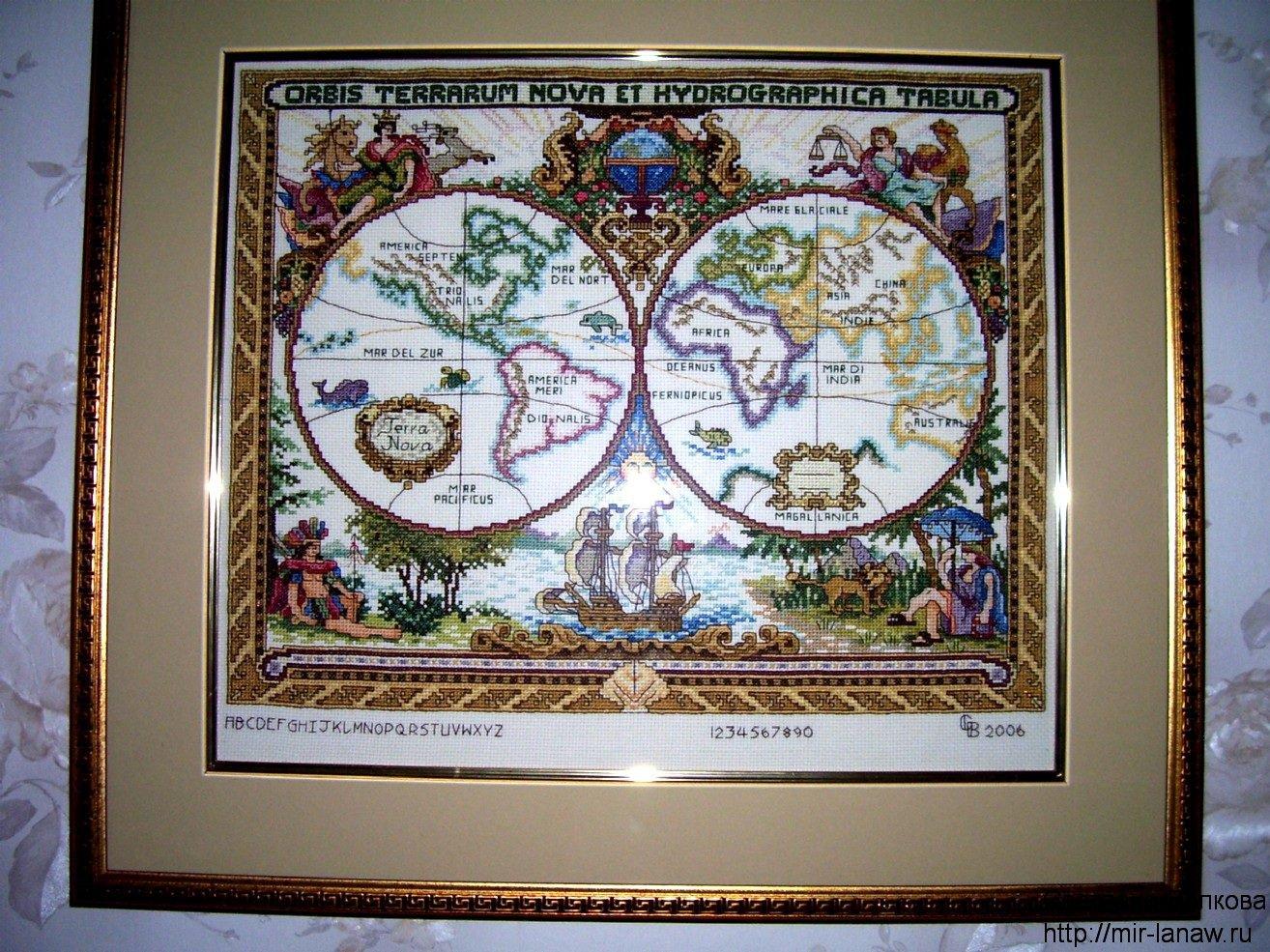 Вышивка старинная карта