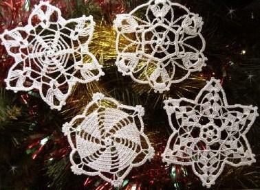 fm63 Снежинки на елку (вязание крючком)