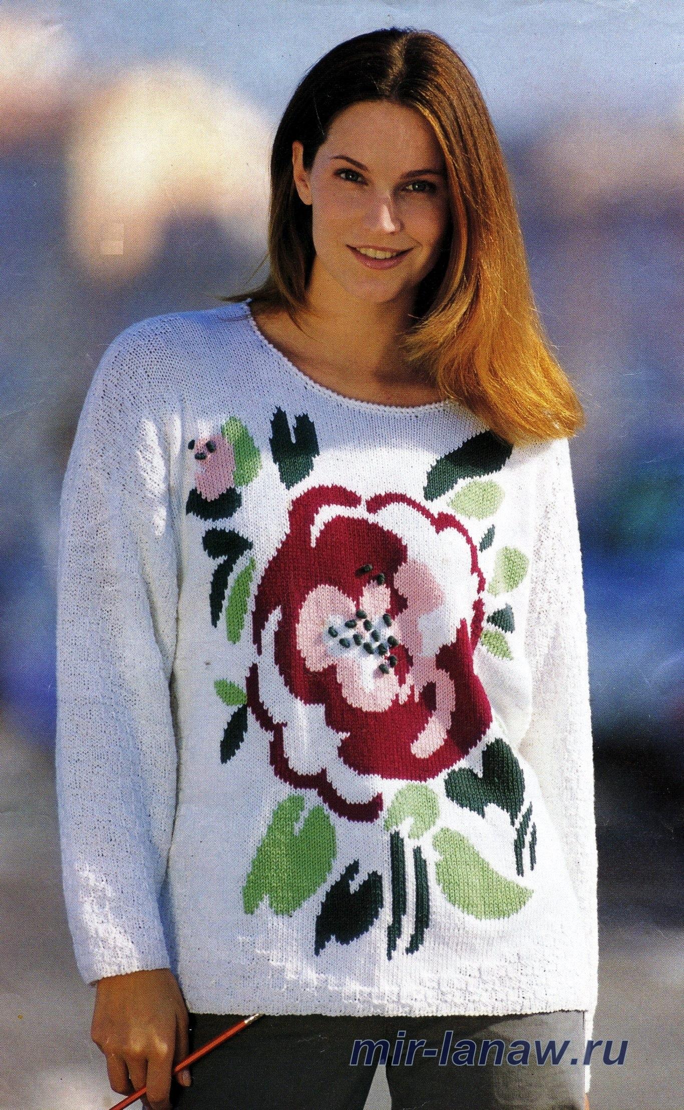 Джемпер с цветком вязание
