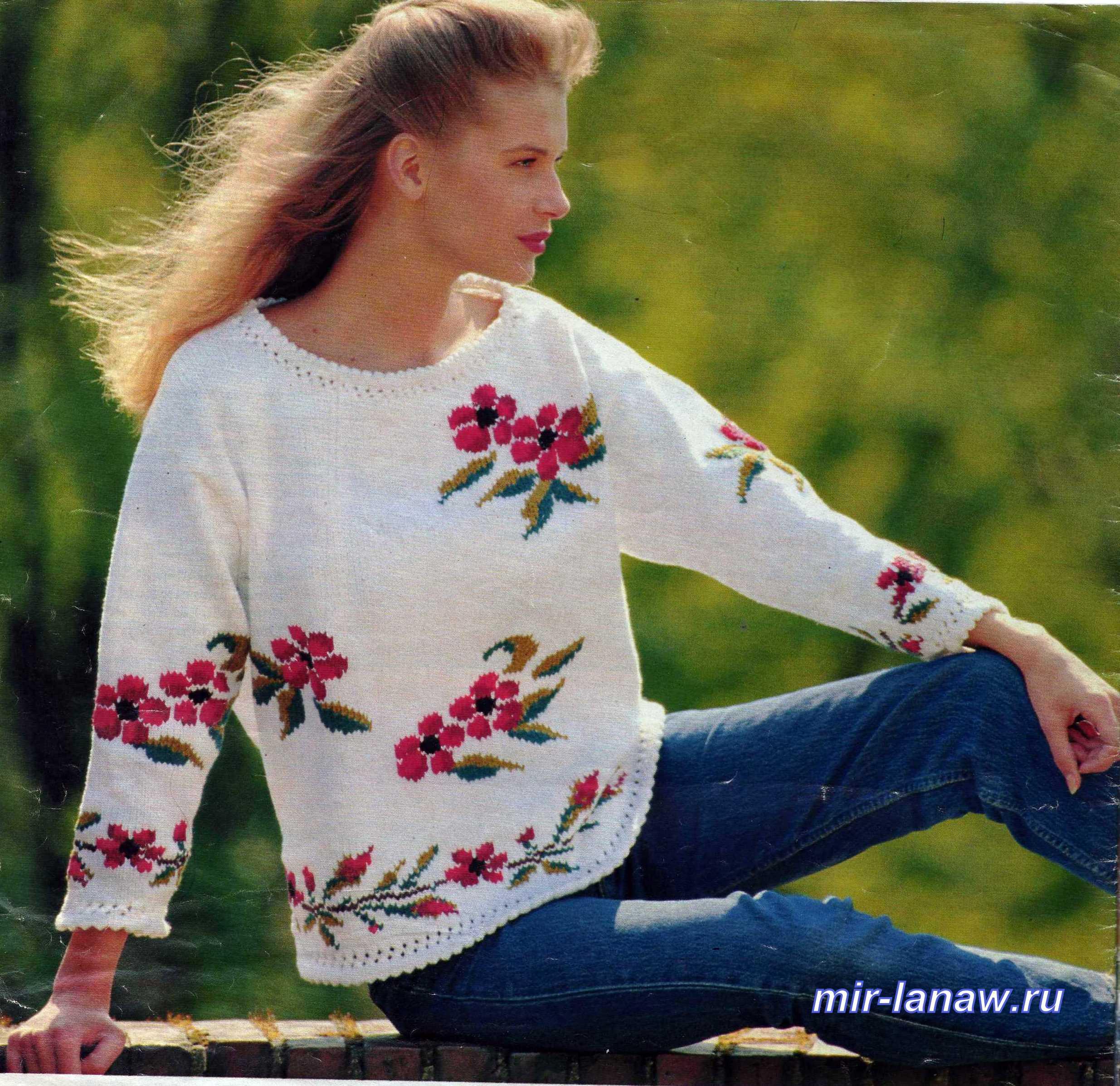 Связать свитер с вышивкой