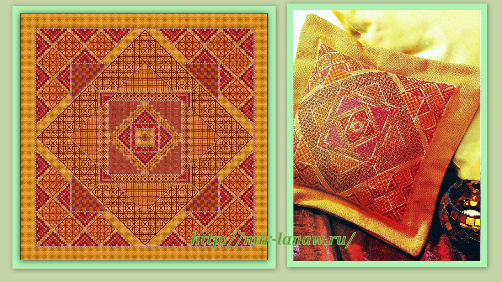 А вот вторую «Узорчатую подушку» («Honeycomb cusion») вышила бы для  прохлады и спокойствия 34a6a446ace57